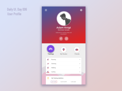 User profile. Daily UI (day 006)