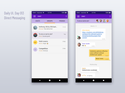 Direct messaging. Daily UI challenge (Day 013)