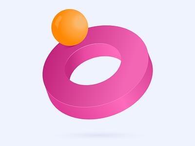 Ball on circle design 3d graphic graphic design illustration branding
