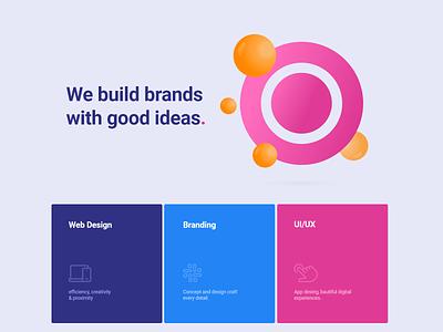 Circlebrand Hero 3d interaction brand design agency branding web design agency website web design web design hero section circlebrand