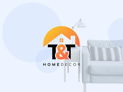 T&T Home Decor work home decor orange branding logo design illustration
