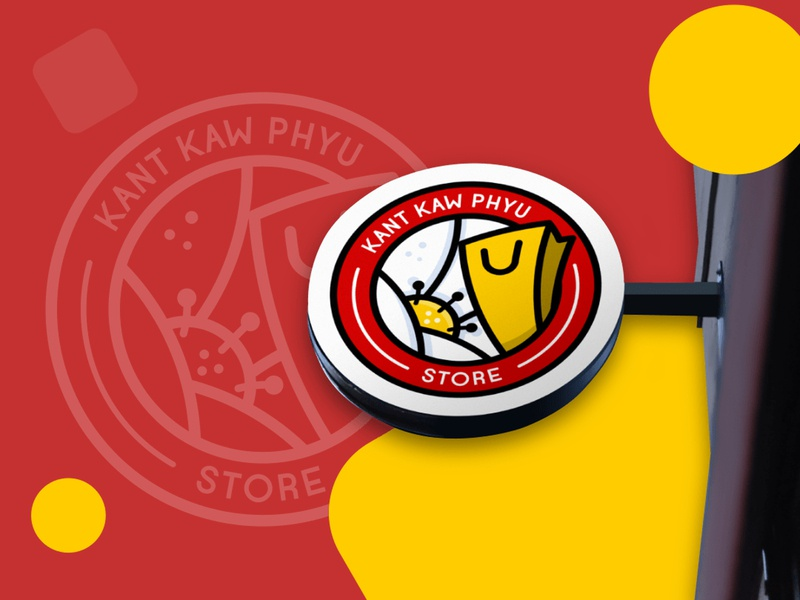 Kant Kaw Phyu work red store branding illustration design logo