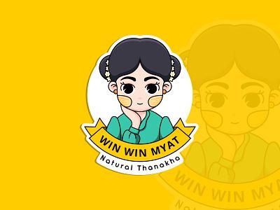 Win Win Myat work character branding illustration design logo