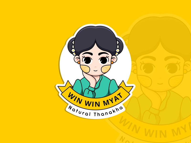 Win Win Myat work character branding illustration design logo