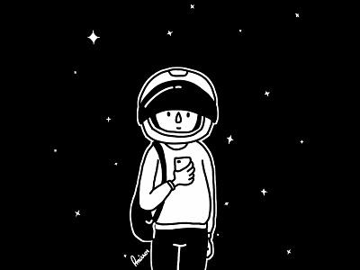 Sometimes I feel like a spacewalker black artwork drawing illustration character astronaut space