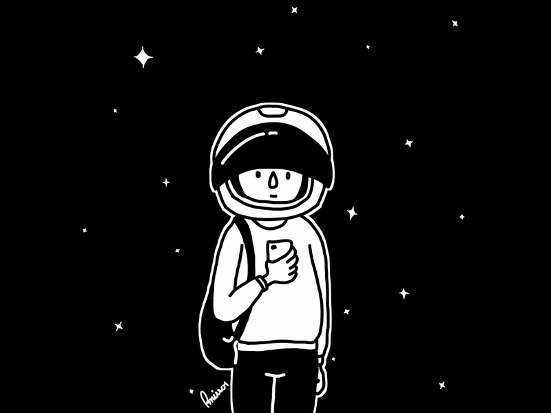 Sometimes I feel like a spacewalker black artwork drawing illustration character astronaut space