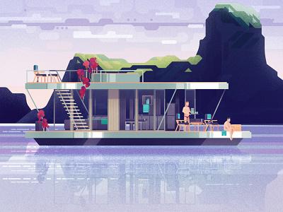 Scandinavian Houseboat mica digital illustrations digital art vector illustration design digital illustration architecture