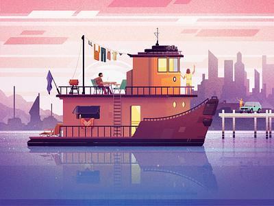 Converted Tugboat boat mid-century modern digital illustrations digital art vector illustration digital illustration design architecture