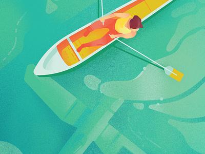 Underwater Discovery colorful bright mid-century modern boat digital illustrations digital art vector illustration digital illustration design