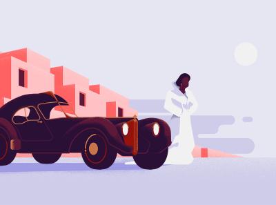 Bugatti Type 57 bugatti lifestyle mid-century modern digital illustrations digital art vector illustration digital illustration design