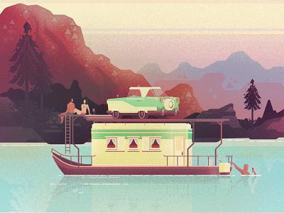 1950s Vacation Houseboat mica digital illustration architecture design vector illustration