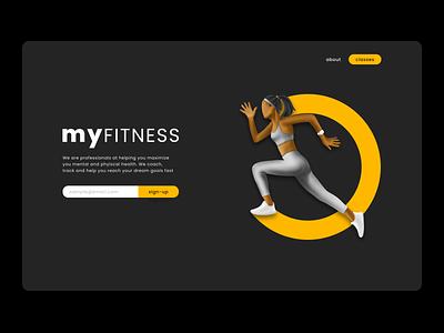 Fitness site landing page webdesign procreate 3d art user interface design concept illustration design ui minimalist clean user interface