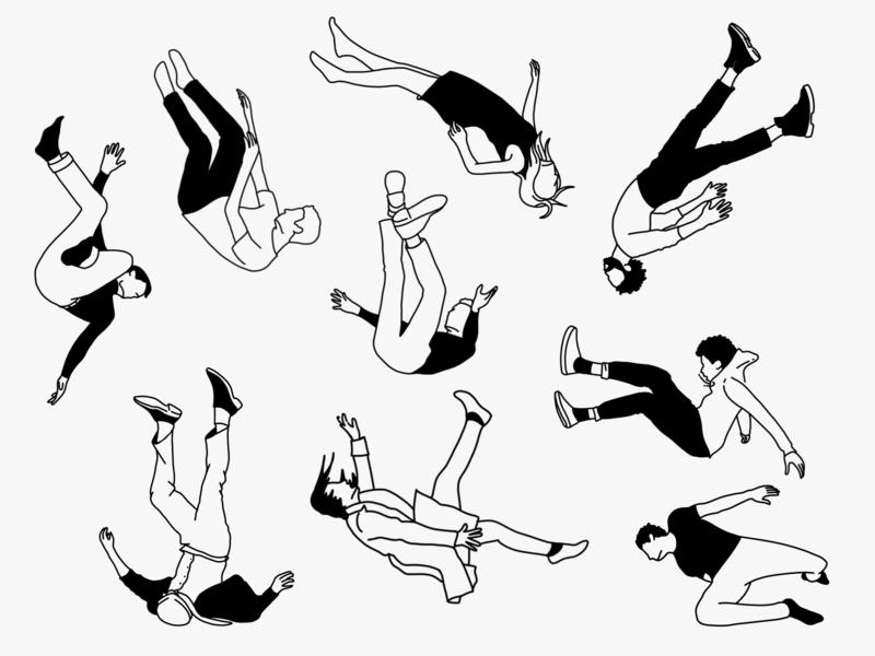 Falling character design people falling procreate illustration