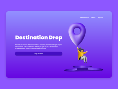 Destination Drop landing page 3d art procreate illustration user interface