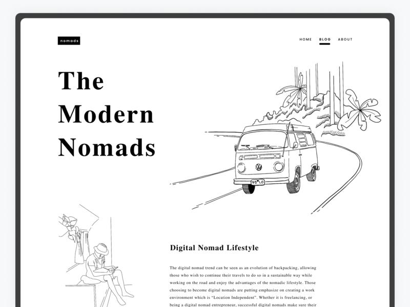 Digital Nomads Blog minimalistic figma procreate art illustraion concept art app user interface design procreate illustration user interface design ui