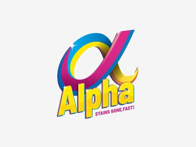 Alpha Washing Powder - Logo Design graphic logo iconic logo agent orange design sparkles logo washing brand washing powder logo stains colorful rainbow alpha alpha logo