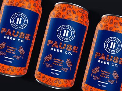 Pause Beer Co. Logo Design craft beer can logo beverage logo label logo round logo orange logo purple logo african beer agent orange design brewery branding brewery logo craftbeer beer branding craft beer logo