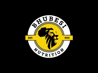 Bhubesi Nutrition Logo Design yellow agent orange design bhubesi nutrition badges animals lion face illustration strong nutrition african continent african logo lion logo