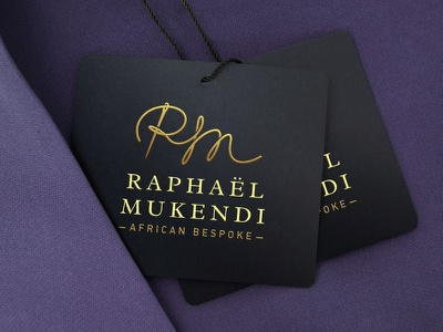 Raphaël Mukhendi - Logo Design Concept fashion icon fashion brand fashion logo south african designers african bespoke needle thread acronym signature logo african brands branding agent orange design