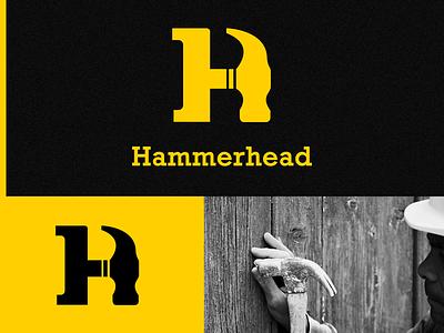 Hammerhead Logo Design h letter negative space graphic logo construction logo building logo yellow logo hammer h logo hammer logo