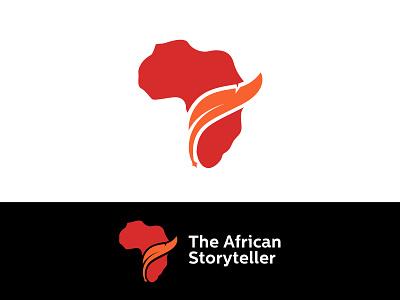 The African Storyteller red logo flat vector simple ink logo african continent african logo africa logo story logo storyteller writer logo feather logo