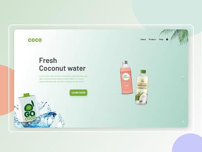 COCO - Landing page. water mordern ui trending web design organic green natural dailyui ux design landingpage cards ui