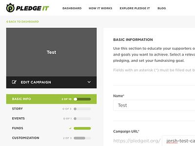 Editing a Campaign multi form pledge it green edit dashboard progress input form