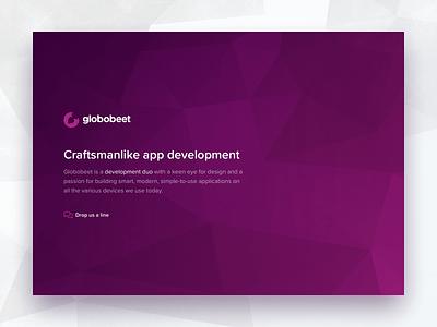 Globobeet homepage homepage design purple gotham rounded app development