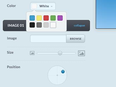 Editor editor widget image browse slider position color swatches uploader size
