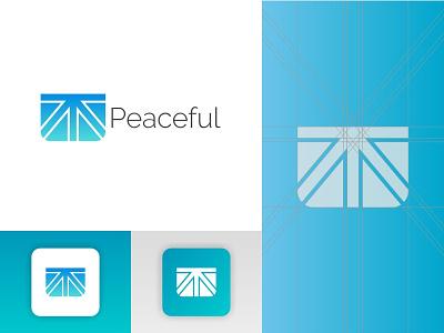Peaceful Logo grid desain kotak desain logo kreatif biru palet warna logo ikon aplikasi