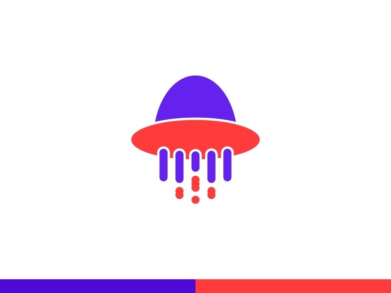 Ufo Logo ilustrasi biru vektor kreatif desain desain logo palet warna logo ikon aplikasi ufo