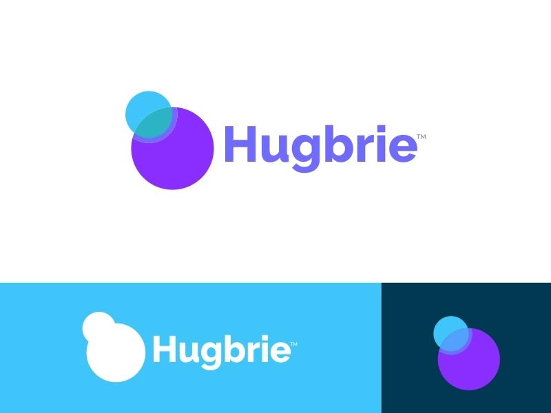 Hugbrie Logo desain ilustrasi biru vektor kreatif desain logo palet warna logo ikon aplikasi