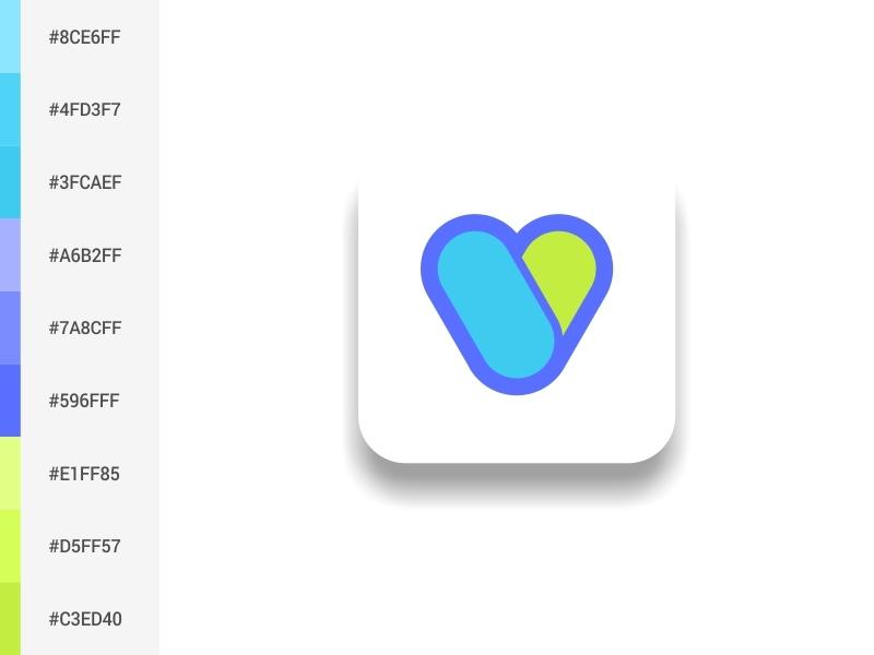 Capsules Logo ui hijau vektor kreatif ilustrasi kotak biru desain logo desain palet warna logo ikon capsules aplikasi