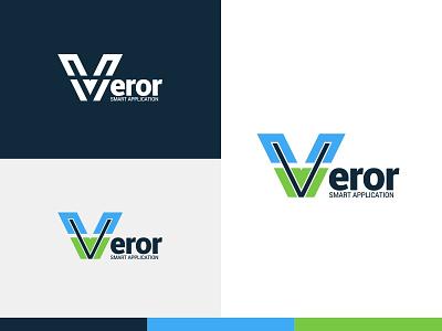 Veror Logo v letter desain biru vektor kreatif desain logo palet warna logo ikon aplikasi