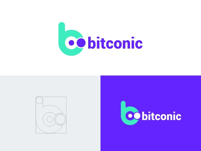 Bitconic Logo b letter vektor kreatif desain desain logo palet warna logo ikon aplikasi