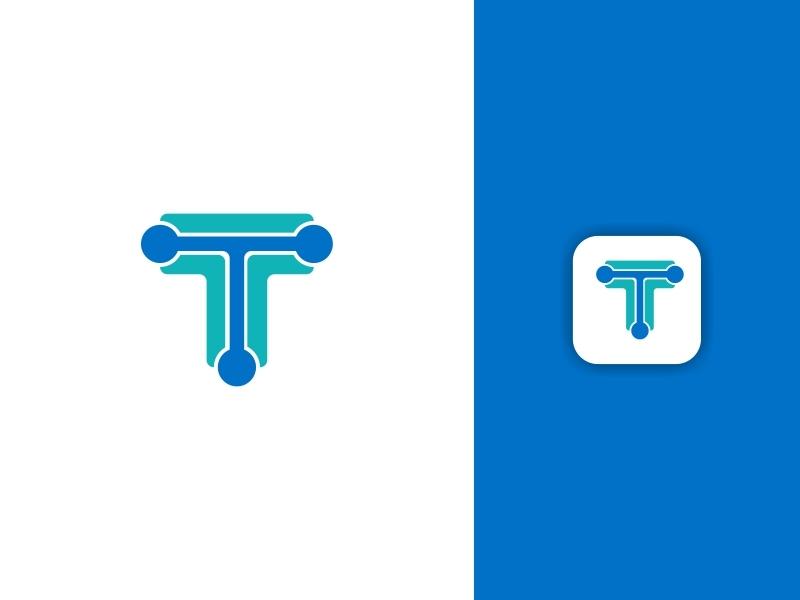 Letter T Logo surat ilustrasi kotak biru vektor desain palet warna kreatif desain logo logo ikon aplikasi