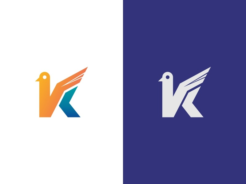 Bird Letter K Logo palet warna bird icon k letter ilustrasi desain vektor biru kreatif desain logo logo ikon aplikasi bird