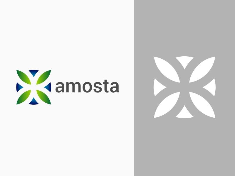 Amosta Brand Identity Logo vektor ilustrasi biru desain palet warna kreatif desain logo logo ikon aplikasi