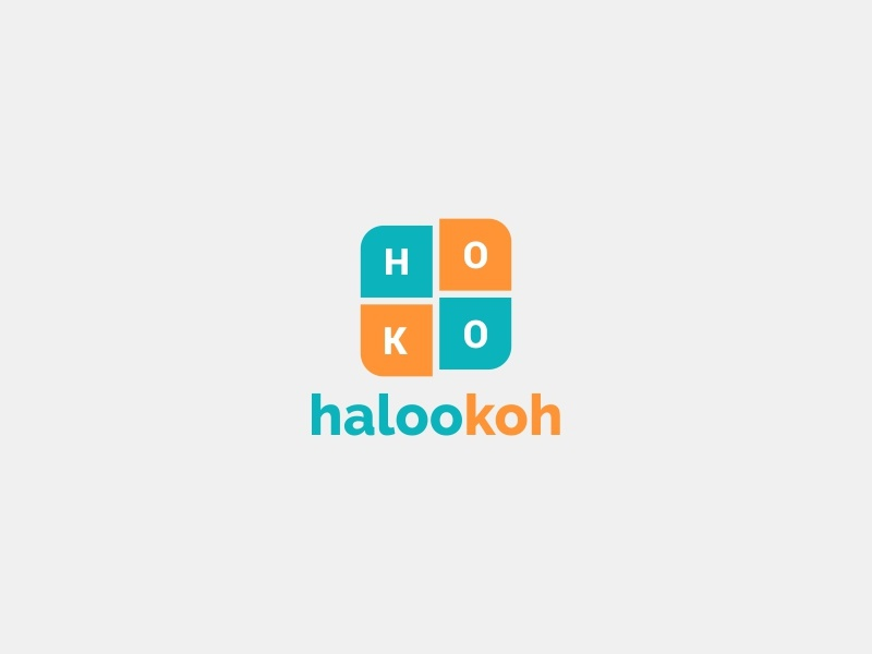 Halookoh Brand Identity Logo kotak surat ilustrasi biru palet warna desain vektor kreatif desain logo logo ikon aplikasi