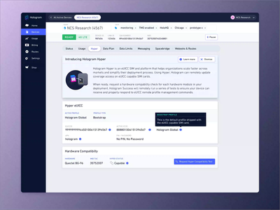 Hologram Dashboard: Asynchronous Request just in time education just in time progressive b2b enterprise card inline alert alert request dashboard asynchronous modal iot