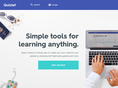 Quizlet's new visual design hero sign up landing landing page homepage visual redesign learn flashcards edtech education quizlet