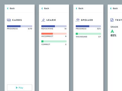 New Study Mode Progress + Options grades progress bars quizlet edtech learn learning study progress