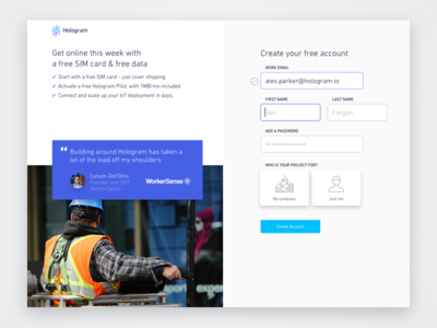 Hologram Dashboard Sign Up new account signup create account sign up