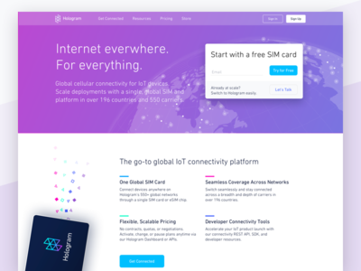 Hologram.io Homepage landing page landing signup cta sign up hero home page iot web marketing home homepage