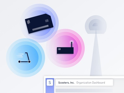 Hologram 101: Connect Anything create account onboarding dashboard sim card sim scooter cellular cell tower iot illustration