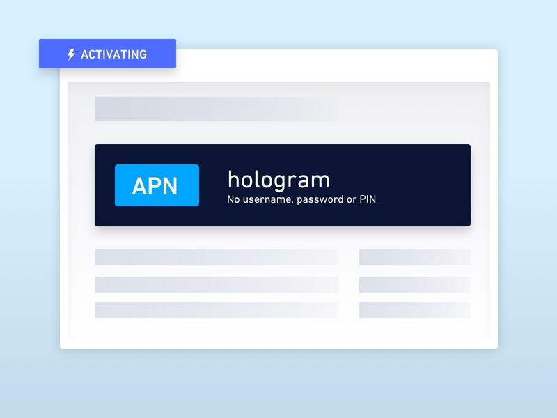 Hologram 101: Set your APN illustration iot landing onboarding create account new user guide walkthrough