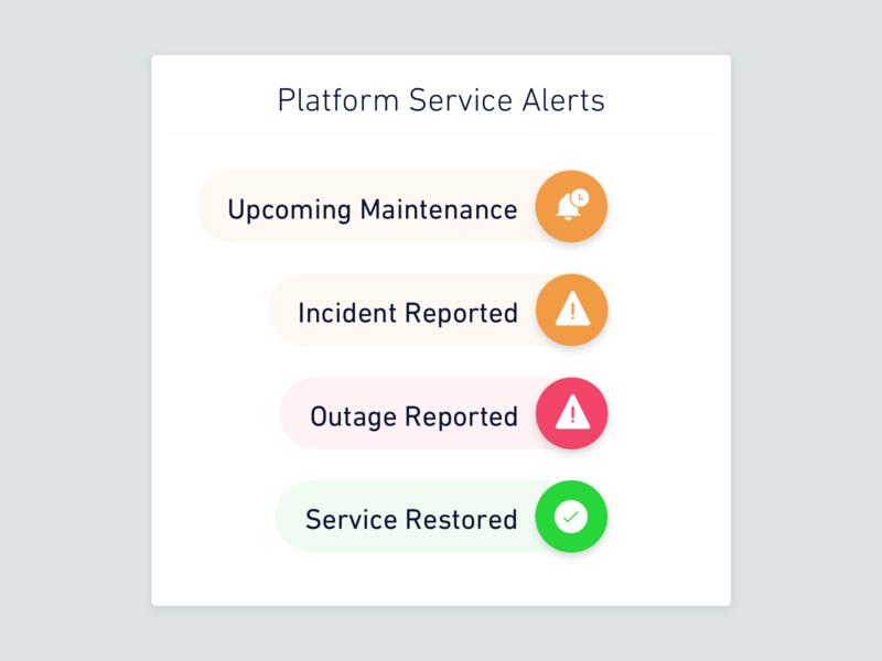 Platform Service Status error downtime enterprise support incident maintenance alert status