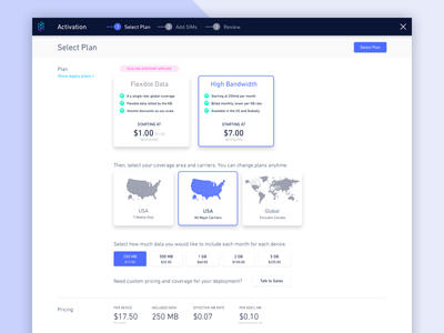 High Bandwidth Plan Takeover multi-step dashboard onboarding iot flow wizard enterprise ui checkout process mutli-step flow checkout modal takeover
