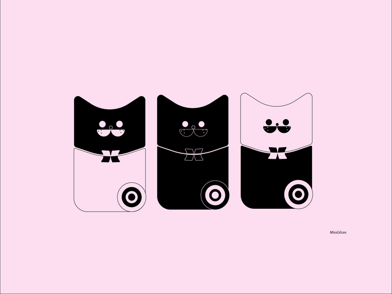 3 fancy cats color cute animal simple art vector illustration design minimal cute cats