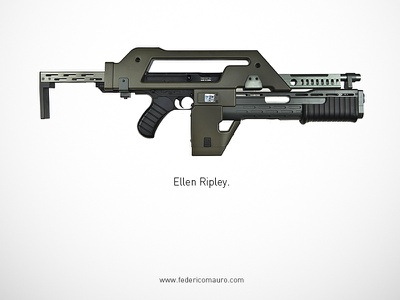 Aliens famous guns federico mauro gun pistols movie cinema minimal iconic